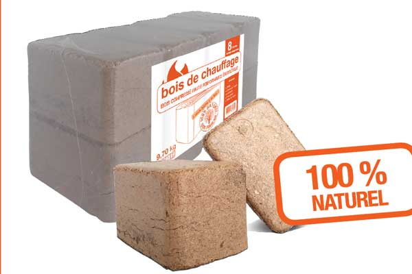 Bûches de bois compressé carrées