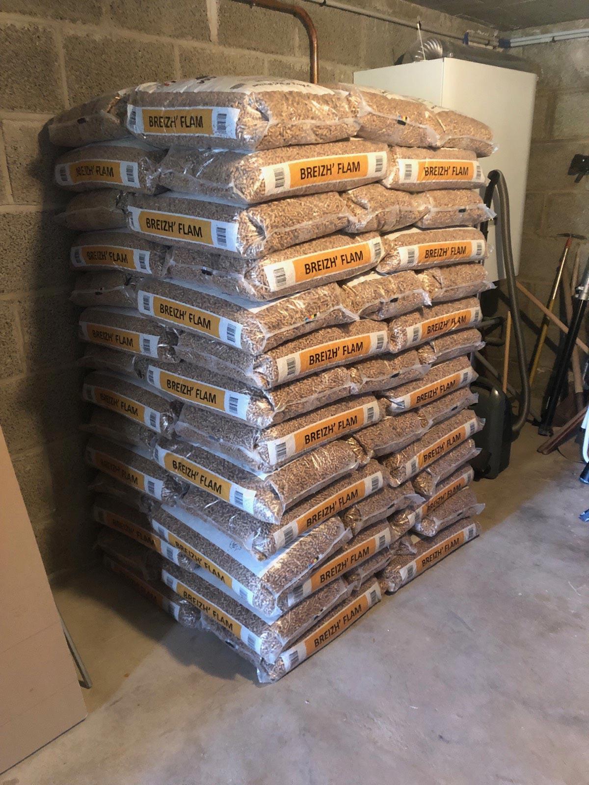Stockage de granulés de bois